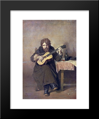 Solitary Guitarist: Modern Black Framed Art Print by Vasily Perov