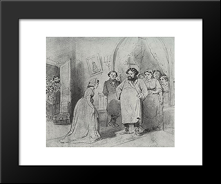 The Arrival Of A Governess In A Merchant'S House: Modern Black Framed Art Print by Vasily Perov