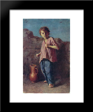 The Boy, Preparing For A Fight: Modern Black Framed Art Print by Vasily Perov