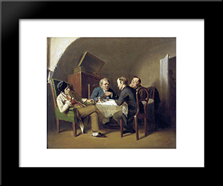 The Conversation At The Round Table: Modern Black Framed Art Print by Vasily Perov
