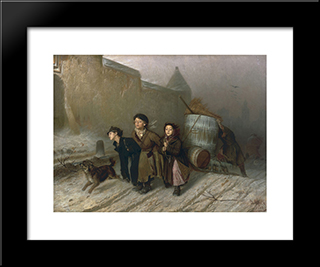 Troika. Apprentice Workmen Carrying Water: Modern Black Framed Art Print by Vasily Perov