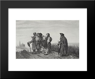 Pilgrims. On A Pilgrimage: Modern Black Framed Art Print by Vasily Perov