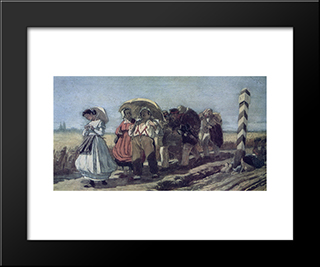 Journey Of The Quarterly Family On A Pilgrimage. Sketch: Modern Black Framed Art Print by Vasily Perov