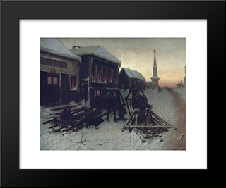 Last Tavern At Town Gate: Modern Black Framed Art Print by Vasily Perov