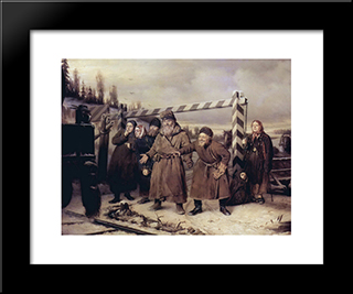 On The Railroad: Modern Black Framed Art Print by Vasily Perov