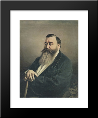 Portrait Of F.F. Rezanov: Modern Black Framed Art Print by Vasily Perov