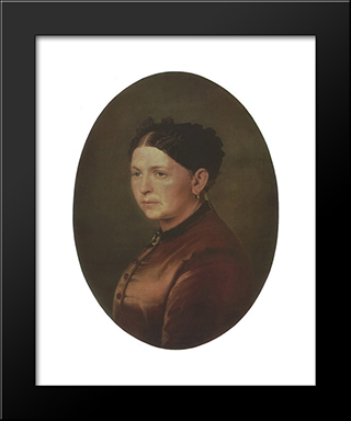 Portrait Of Feodosya Resanova: Modern Black Framed Art Print by Vasily Perov