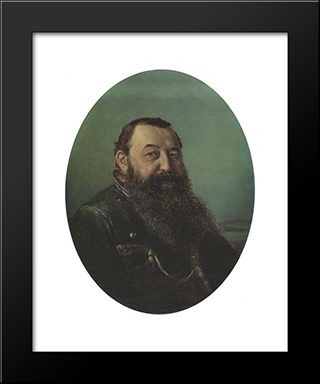Portrait Of N.F. Rezanov: Modern Black Framed Art Print by Vasily Perov