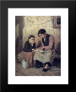 Self-Educating Caretaker: Modern Black Framed Art Print by Vasily Perov