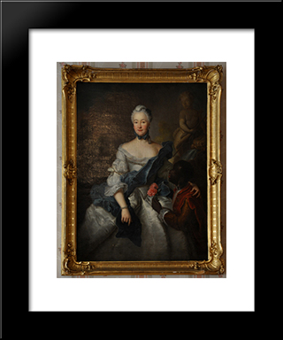 ?Aroline Of Hesse Darmstadt With Her Moors: Modern Black Framed Art Print by Antoine Pesne