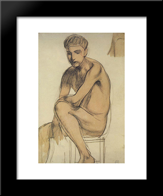 Seated Boy: Modern Black Framed Art Print by Kuzma Petrov Vodkin