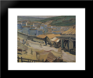 The City Of Constantine: Modern Black Framed Art Print by Kuzma Petrov Vodkin