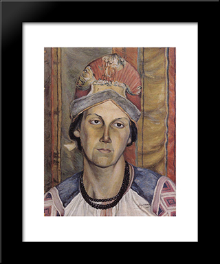 Portrait Of A Woman (Portrait Of An Unknown): Modern Black Framed Art Print by Kuzma Petrov Vodkin
