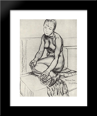 Seated Naturschitsa: Modern Black Framed Art Print by Kuzma Petrov Vodkin