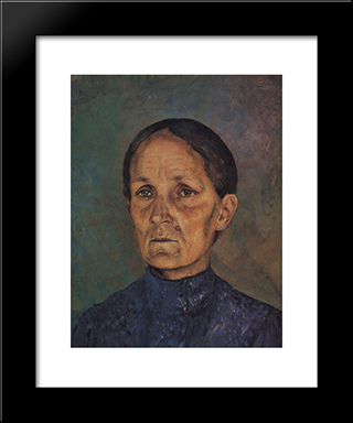 Portrait Of A.P.Petrovoy-Vodkin, Artist'S Mother: Modern Black Framed Art Print by Kuzma Petrov Vodkin