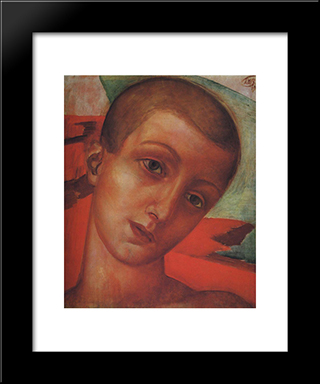 Head Of A Boy: Modern Black Framed Art Print by Kuzma Petrov Vodkin