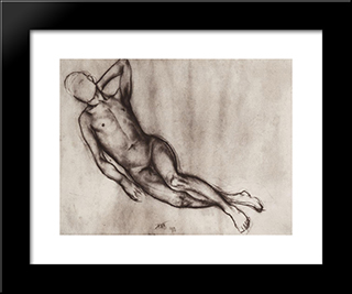 Lying Boy: Modern Black Framed Art Print by Kuzma Petrov Vodkin