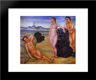 The Dream: Modern Black Framed Art Print by Kuzma Petrov Vodkin