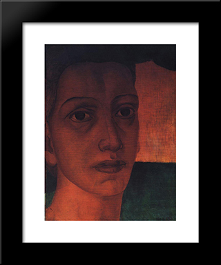 Monumental Head: Modern Black Framed Art Print by Kuzma Petrov Vodkin