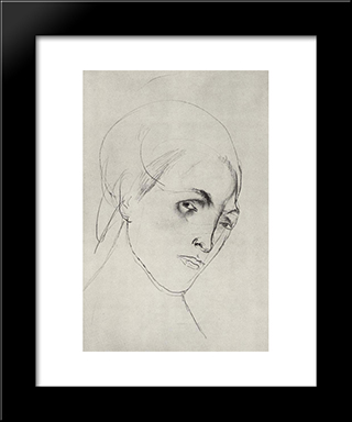 Sketch Of A Woman'S Head To The Picture Mother: Modern Black Framed Art Print by Kuzma Petrov Vodkin