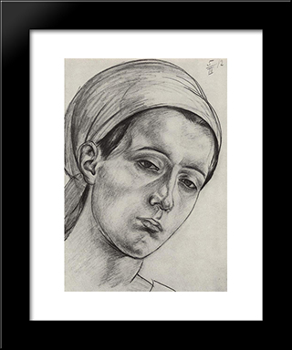 Female Head: Modern Black Framed Art Print by Kuzma Petrov Vodkin