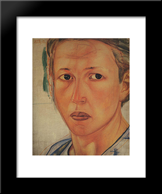Portrait Of Grekova (Kazachka): Modern Black Framed Art Print by Kuzma Petrov Vodkin