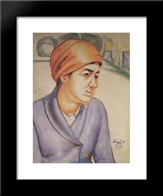 Portrait Of M.F.Petrova-Vodkina: Modern Black Framed Art Print by Kuzma Petrov Vodkin