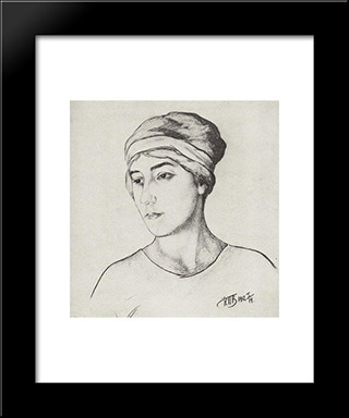 Portrait Of The Artist'S Wife: Modern Black Framed Art Print by Kuzma Petrov Vodkin