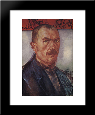 Self-Portrait: Modern Black Framed Art Print by Kuzma Petrov Vodkin