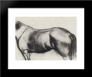 Sketch For The Painting Bathing The Red Horse: Modern Black Framed Art Print by Kuzma Petrov Vodkin