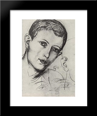 Head Of Young Man (Adam): Modern Black Framed Art Print by Kuzma Petrov Vodkin