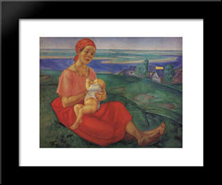 Mother: Modern Black Framed Art Print by Kuzma Petrov Vodkin
