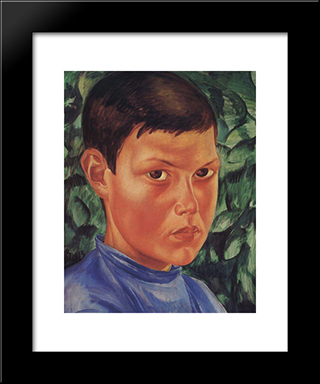 Portrait Of A Boy: Modern Black Framed Art Print by Kuzma Petrov Vodkin