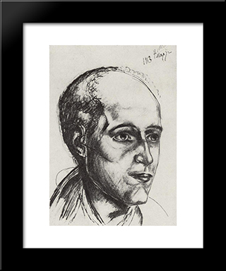 Portrait Of The Poet: Modern Black Framed Art Print by Kuzma Petrov Vodkin