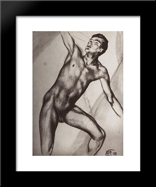 Sitter: Modern Black Framed Art Print by Kuzma Petrov Vodkin