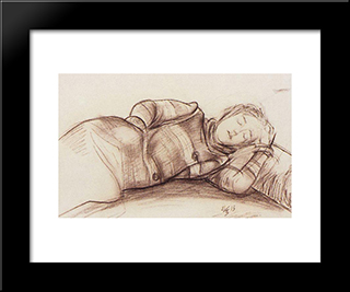 Sleeping Woman: Modern Black Framed Art Print by Kuzma Petrov Vodkin