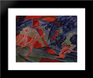 Hurricane: Modern Black Framed Art Print by Kuzma Petrov Vodkin