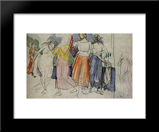 Sketch Of The Painting Girls On The Volga: Modern Black Framed Art Print by Kuzma Petrov Vodkin