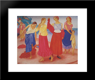 Girls On The Volga: Modern Black Framed Art Print by Kuzma Petrov Vodkin