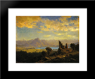 Scene In The Tyrol: Modern Black Framed Art Print by Albert Bierstadt