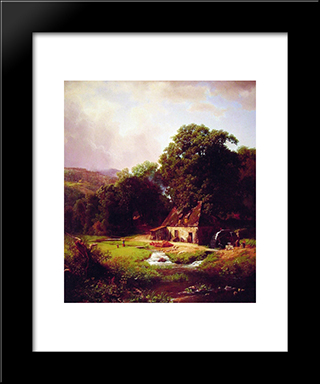 The Old Mill: Modern Black Framed Art Print by Albert Bierstadt