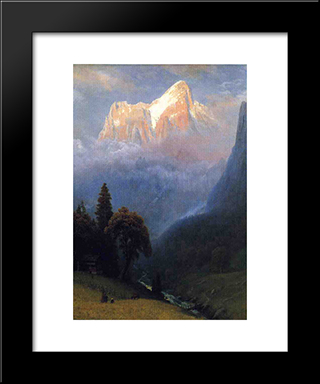 Storm Among The Alps: Modern Black Framed Art Print by Albert Bierstadt