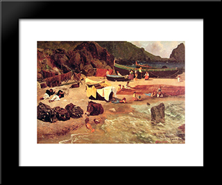 Fishing Boats At Capri: Modern Black Framed Art Print by Albert Bierstadt