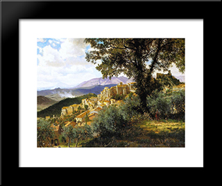 Olevano: Modern Black Framed Art Print by Albert Bierstadt