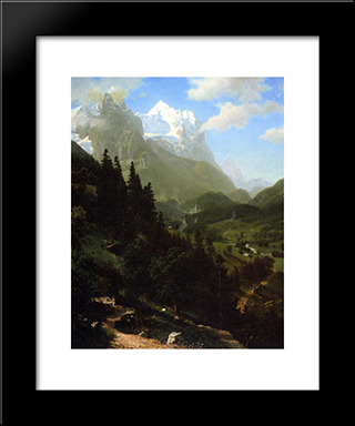 The Wetterhorn: Modern Black Framed Art Print by Albert Bierstadt