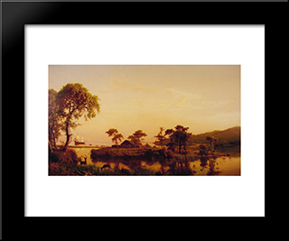 Gosnold At Cuttyhunk: Modern Black Framed Art Print by Albert Bierstadt