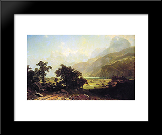 Lake Lucerne, Switzerland: Modern Black Framed Art Print by Albert Bierstadt