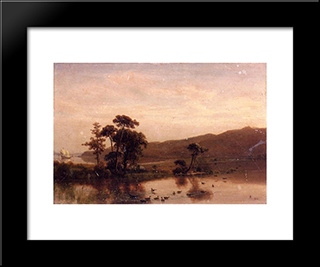 Study For Gosnold At Cuttyhunk: Modern Black Framed Art Print by Albert Bierstadt