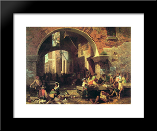 The Arch Of Octavius: Modern Black Framed Art Print by Albert Bierstadt