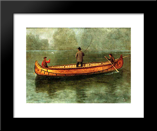 Fishing From A Canoe: Modern Black Framed Art Print by Albert Bierstadt
